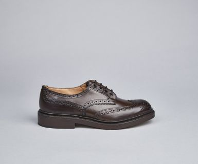 Tricker's Bourton Shoe, Men's Handmade Brogue Shoe in Dark Brown leather