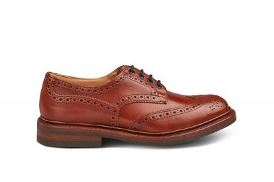 Tricker's Bourton Shoe, Men's Handmade Wingtip Brogue shoe in brown leather.