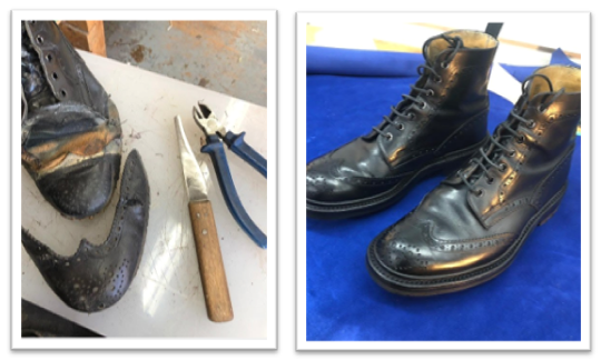 Tricker's Boots Before and After Repair